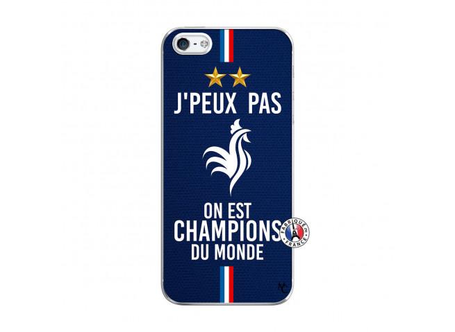 Coque iPhone 5/5S/SE Je Peux Pas On Est Les Champions Du Monde Translu