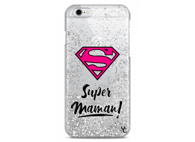 Coque iPhone 6/6S Silver Glitter Super Maman