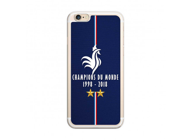 Coque iPhone 6Plus/6SPlus Champions Du Monde 1998 2018 Transparente