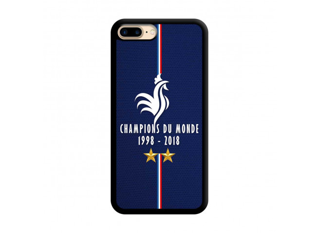 Coque iPhone 7Plus/8Plus Champions Du Monde 1998 2018 Noire