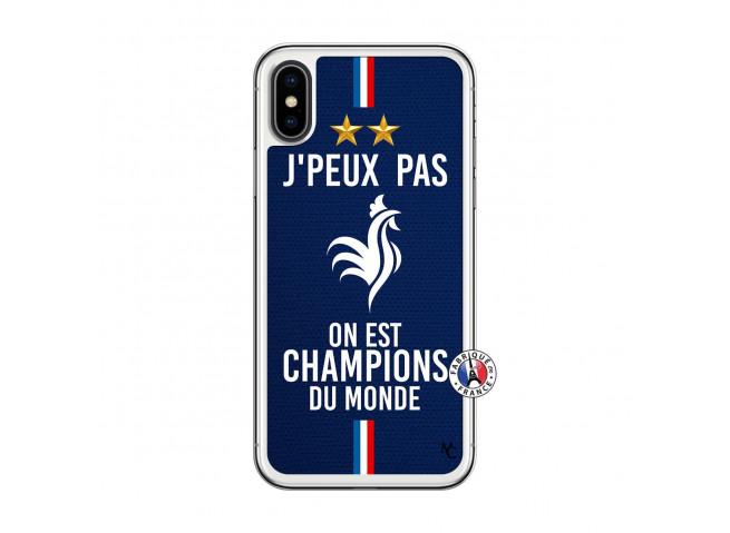 Coque iPhone X/XS Je Peux Pas On Est Les Champions Du Monde Translu