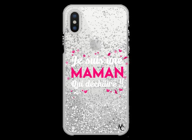 Coque iPhone X/XS Silver Glitter Je suis une Maman qui Déchire