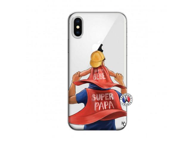 Coque iPhone X/XS Super Papa et Super Bébé