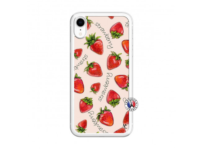 Coque iPhone XR Sorbet Fraise Translu