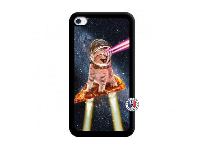 Coque iPod Touch 4 Cat Pizza Noir