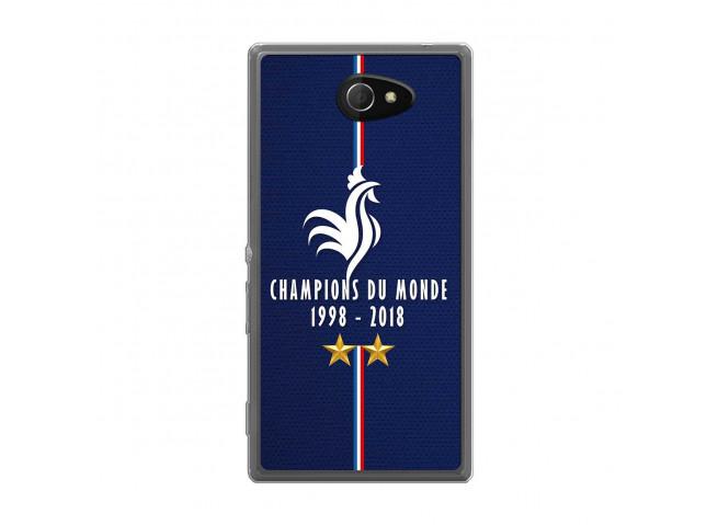 Coque Sony Xperia M2 Champions Du Monde 1998 2018 Transparente