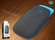 Housse Leather Pocket Noir/Bleu Blackberry 9320