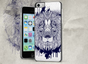 Coque iPhone 5C Black Lion Face