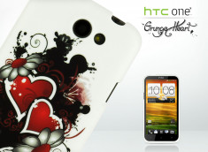 Coque HTC One X Grunge Heart