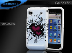 "Coque Galaxy S i9000 ""Purple Hearts"""