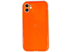Coque iPhone 11 Clear Hybrid Fluo Orange