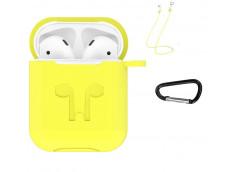 Pochette Silicone for Airpod 1-2 avec Crochet et Attaches Ecouteurs-Jaune