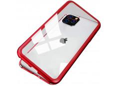Coque iPhone 11 Pro Max Magnétique avec Verre Trempé Arrière-Rouge