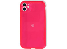 Coque iPhone XR Clear Hybrid Fluo Rose