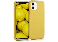 Coque iPhone 12 Mini Silicone Biodégradable-Jaune