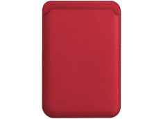 Porte Carte Cuir Compatible Magsafe-Rouge