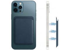 Porte Carte Cuir Compatible Magsafe-Bleu
