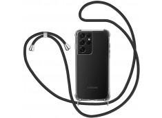Coque Samsung Galaxy S21 Ultra Necklace Clear Shock + 1 tour de cou offert