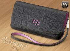 Blackberry Etui folio horizontal cuir Noir/Rose 9800/9810 Torch
