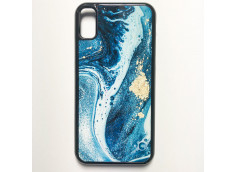 coque-iphone-xs-texture-lave-or-bleu