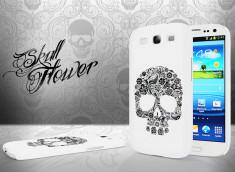 Coque Samsung Galaxy S3 Skull Flower-Blanc
