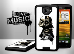 Coque HTC One X _I Love Music-Blanc