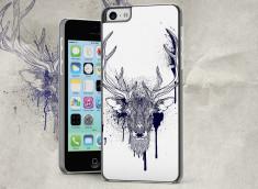 Coque iPhone 5C Black Deer Face