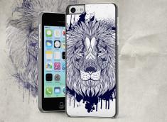 Coque iPhone 5C Black Lion Face