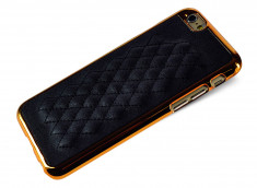 Coque iPhone 6/6S Leather'n Gold-Noir