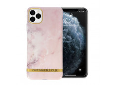 Coque iPhone 12/12 Pro Silicone Marble Light Pink