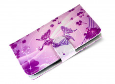 Etui Wiko Darkfull Purple Butterflies
