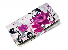 Etui Wiko Darkfull Purple Flowers