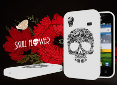 Coque Samsung Galaxy Ace Skull Flower-Blanc