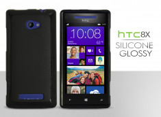 Coque HTC 8X Silicone Glossy-Noir
