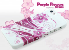 Coque iPhone 5 Purple Flower Strass