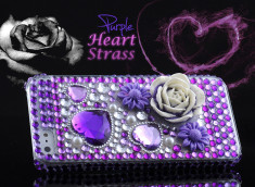 Coque iPhone 5 Purple Heart Strass