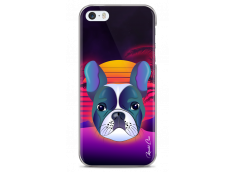 Coque iPhone 5C Gradient french buldog design