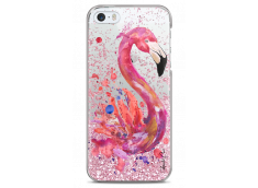 Coque iPhone 5/5s/SE Pink glitter Watercolor summer flamingo
