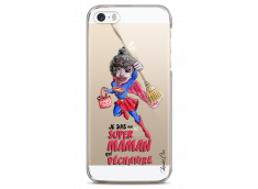 Coque iPhone 5C Super Maman qui déchire- black watercolor design
