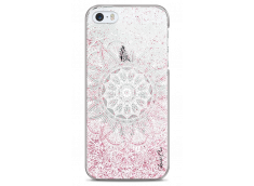 Coque iPhone 5/5s/SE Pink glitter - white Mandala