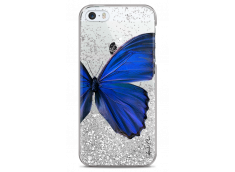 Coque iPhone 5/5s/SE Silver glitter Blue butterfly