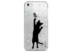 Coque iPhone 5/5s/SE Silver glitter Cat let's play together
