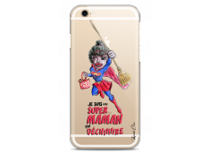Coque iPhone 6Plus/6SPlus Super Maman qui déchire- black watercolor design