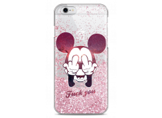 Coque iPhone 6/6S Pink glitter Mickey Mouse message