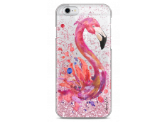 Coque iPhone 6Plus/6SPlus Pink glitter Watercolor summer flamingo pattern
