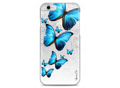 Coque iPhone 6/6S Silver glitter Blue beautiful butterflies