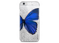 Coque iPhone 6Plus/6SPlus Silver glitter Blue butterfly