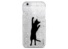 Coque iPhone 6/6S Silver glitter Cat let's play together