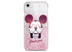 Coque iPhone 7Plus/8Plus Pink glitter Mickey Mouse message