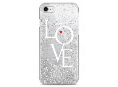 Coque iPhone 7/8 Silver glitter Love is all you need